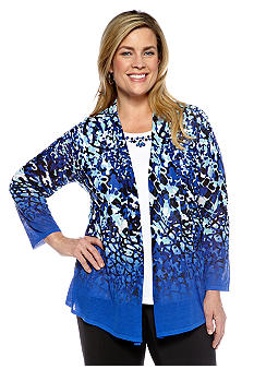 Alfred Dunner Plus Size French Riviera Embellished Neck Animal Print Layered Sweater