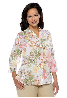 Alfred Dunner Plus Size Summer Haze Butterfly Button Up Blouse