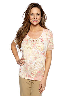 Alfred Dunner Petite Summer Haze Abstract Butterfly Pleated Neck Top