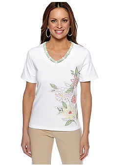 Alfred Dunner Petite Summer Haze Floral Embroidered Gingham Trim Tee
