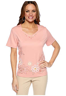 Alfred Dunner Petite Summer Haze Embroidered Floral Knit Top