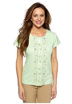 Alfred Dunner Petite Summer Haze Embroidered Knit Top