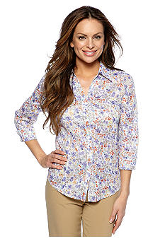 Alfred Dunner Color Splash Floral Print Blouse