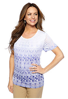 Alfred Dunner Color Splash Ombre Medallion Print Knit Top