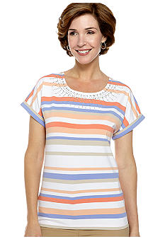 Alfred Dunner Color Splash Stripe Rhinestone Tee