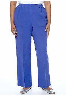 Alfred Dunner Plus Size Color Splash Classic Cotton Pull On Pant Short Inseam