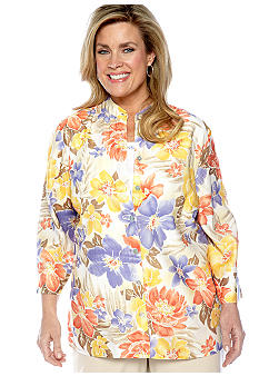 Alfred Dunner Plus Size Color Splash Tropical Burnout 2-in-1 Blouse