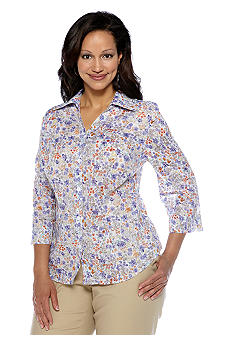 Alfred Dunner Plus Size Color Splash Floral Print Blouse