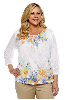 Alfred Dunner Plus Size Color Splash Floral Burnout Knit Top