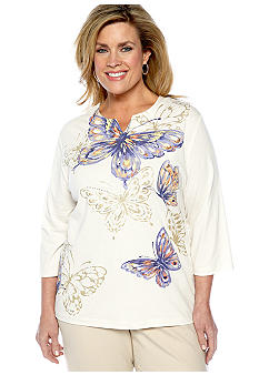 Alfred Dunner Plus Size Color Splash Butterfly Split Neck Knit Top