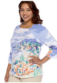 Alfred Dunner Plus Size Color Splash Scenic Tee