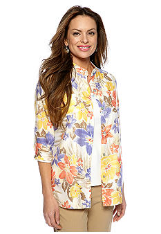 Alfred Dunner Petite Color Splash Tropical Burnout 2-in-1 Blouse