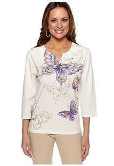 Alfred Dunner Petite Color Splash Butterfly Split Neck Knit Top