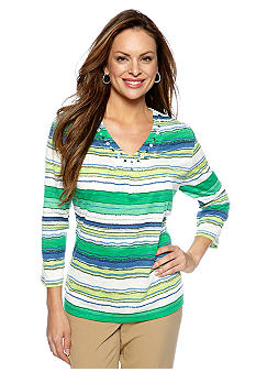 Alfred Dunner Cool Breeze Wavy Stripe Knit Top