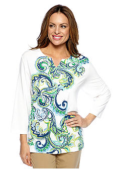 Alfred Dunner Cool Breeze Vertical Scroll Print Split Neck Top