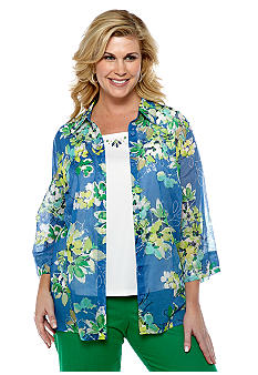 Alfred Dunner Plus Size Cool Breeze Floral Print 2fer Blouse