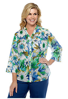 Alfred Dunner Plus Size Cool Breeze Window Pane Floral Button Up Blouse