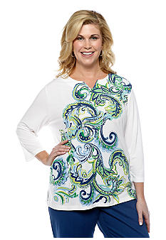 Alfred Dunner Plus Size Cool Breeze Vertical Scroll Print Split Neck Top
