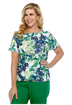 Alfred Dunner Plus Size Cool Breeze Tropical Print Eyelash Top