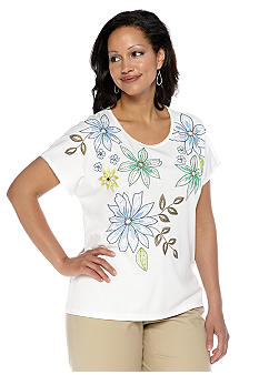 Alfred Dunner Plus Size Cool Breeze Embroidered Cap Sleeve Knit Top