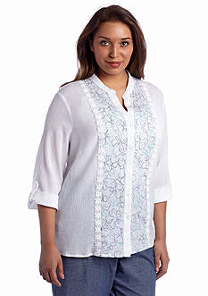 Alfred Dunner Plus Size St. Maarten Collection Embroidered Blouse