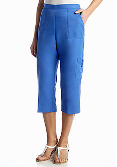 Alfred Dunner Petite Coastal Breeze Collection Cargo Pocket Capri