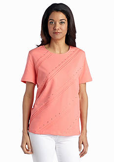 Alfred Dunner Petite Coastal Breeze Diagonal Pin Tuck Top