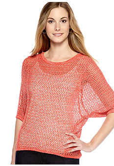 New Directions Weekend Openwork Dolman Sweater