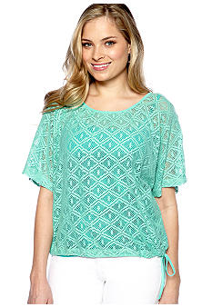 New Directions Weekend Lace Drawstring 2-Fer Top