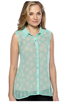New Directions Weekend Woven Hi Lo Shirt
