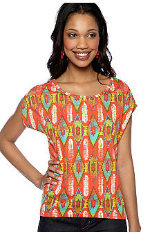 New Directions Weekend Mix Print Wedge Tee