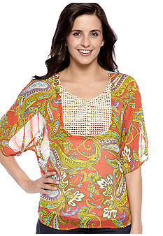 New Directions Weekend Dolman Top with Woven Crochet Bib
