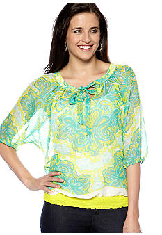 New Directions Weekend Tie Front Print Dolman