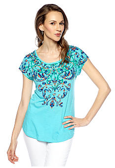 New Directions Weekend Lace Back Dolman Top
