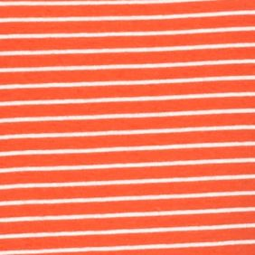 Layering Tees for Women: Orange/Khaki New Directions Weekend Mini Stripe Long Sleeve Rib Tee
