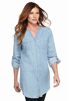 New Directions Weekend Snap Front Jean Tunic