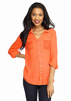 New Directions Weekend Lace Trim Shirt