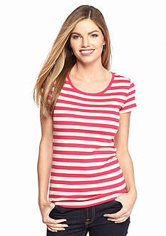 New Directions Weekend EDV Ribbed Stripe Tee