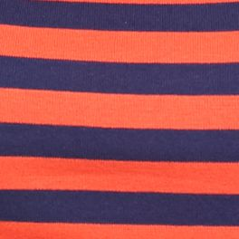 Layering Tees for Women: Wild Orange/Nitecap Navy New Directions Weekend EDV Ribbed Stripe Tee