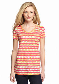 New Directions Weekend Stripe Aztec Tee
