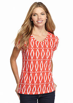 New Directions Weekend Aztec Core Slub V-Neckline Tee