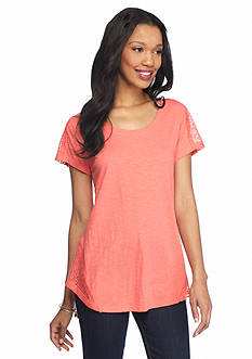 New Directions Weekend Relaxed Lace Shoulder Tee