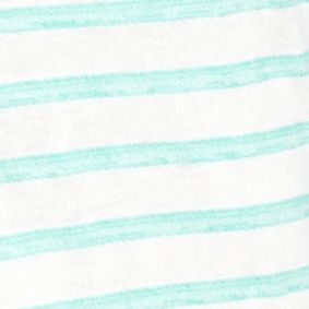 Womens Tees: Green Stripe New Directions Weekend Cuff Sleeve Striped Top