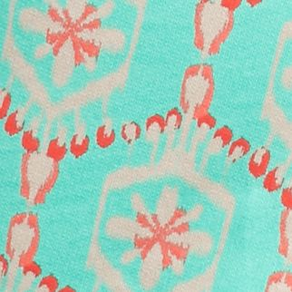 Bermuda Shorts for Women: Green Aloe / Coral New Directions Weekend Printed Drawstring Short