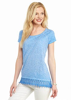 New Directions Weekend Relaxed Lace Hem Tee