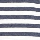 Womens Tees: Nitecap Navy Stripe New Directions Weekend Stripe Crochet Sleeve Swing Tee
