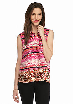 New Directions Weekend Tribal Button Front Shirt