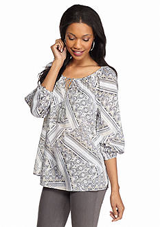 New Directions Weekend Aztec Peasant Shirt