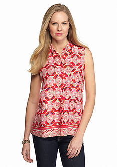 New Directions Weekend Tribal Button Front High Low Shirt