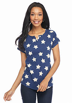 New Directions Weekend Star Printed Split Neck Top